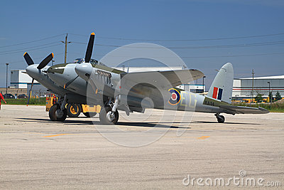 Only one in the world flying De Havilland DH.98 Mosquito towed for demo flight Editorial Photo
