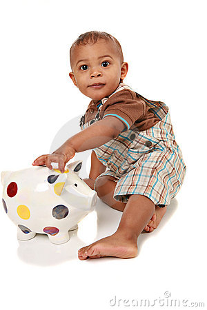 One Year Old Baby Boy Playing Piggy Bank