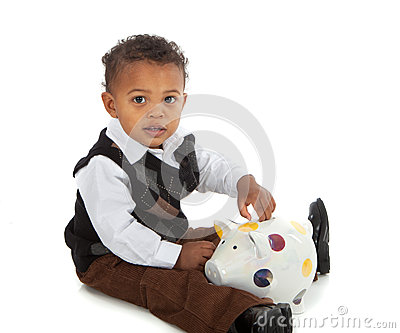 One year old baby boy playing piggy bank stock photo image 45504218