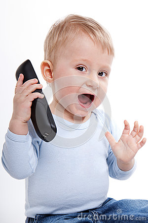 One year old boy with phone