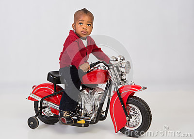 One Year Old Boy Riding Motorbike