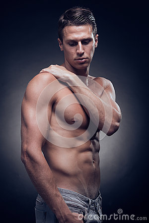 Free One Young Adult Man, Caucasian, Fitness Model, Muscular Body, Sh Stock Image - 99267521
