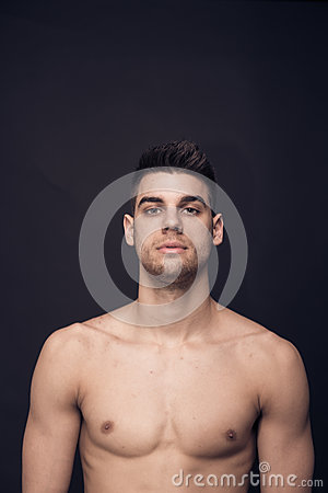 Free One Young Man Confident Upper Body Shirtless Stock Photos - 89106033