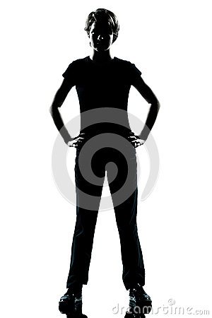 One young teenager boy or girl silhouette standing hands on hips