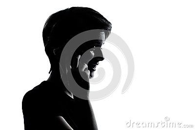One young teenager boy or girl on the telephone silhouette