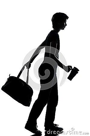 One young teenager boy girl walking silhouette