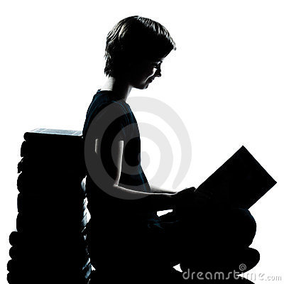 One young teenager silhouette boy or girl reading