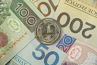 One zloty on all of polish cash