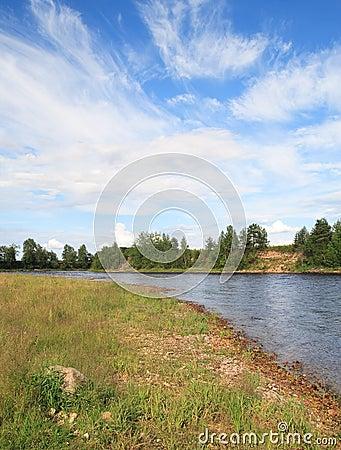 Onega riverbank in sunny day