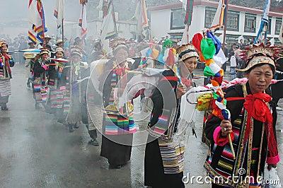 Ongkor Festival in Tibet Editorial Photo