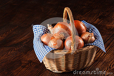 Onion basket on table