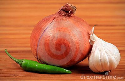 Onion, chilly and garlic