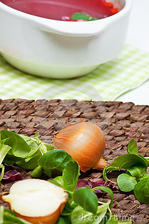 Onion and fresh herbs