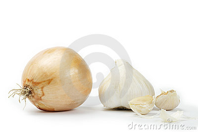 Onion with garlic and garlic cloves