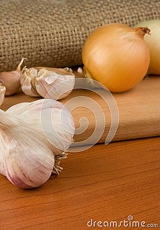 Onion and garlic on sacking