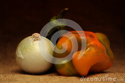 Onion, pepper, eggplant