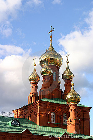 Onion shaped domes of Russian orthodox cathedral