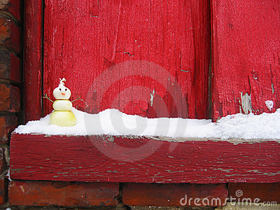 Onion Snowman on Snowy Windowsill