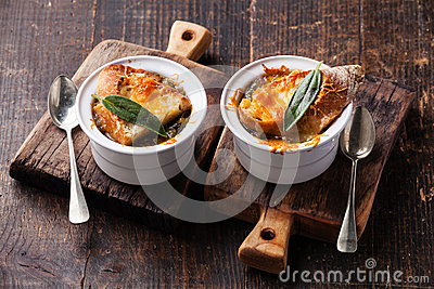 Onion soup with dried bread, sage and cheddar cheese.