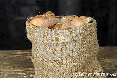 Onions in a jute bag