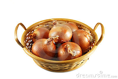 Onions in a wicker basket