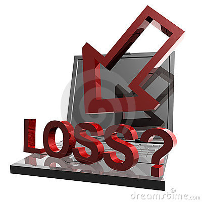 Online business loss and failure icon