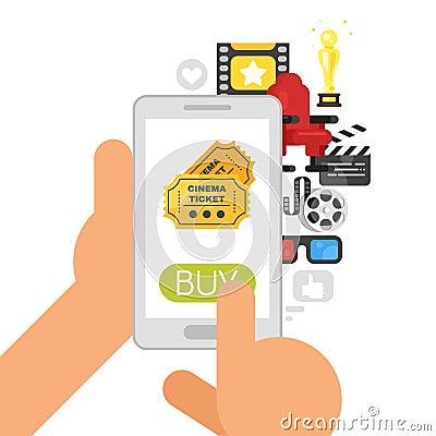 online buying of cinema tickets. Vector Illustration