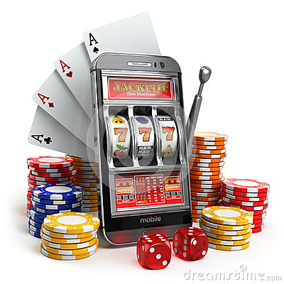 Free Online Casino Concept. Mobile Phone, Slot Machine, Dice And Card Stock Images - 56846324