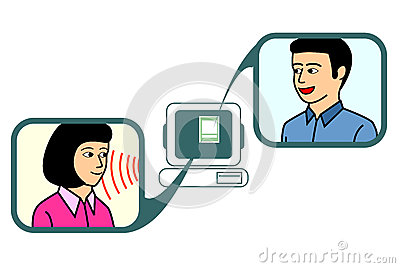 couple chatting via online chat application.