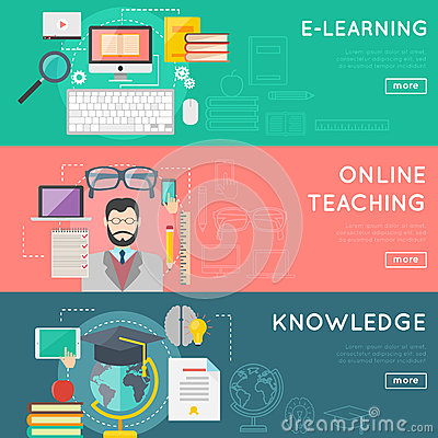 online education and e learning web banner set distant internet