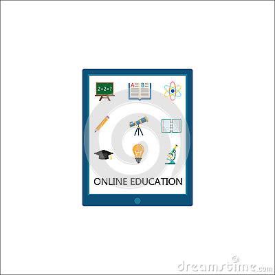 Online education flat icon set, E-learning Vector Illustration