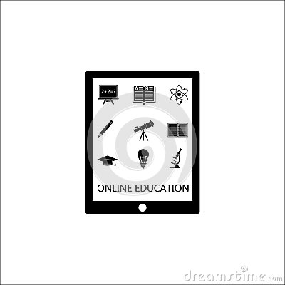 Online education solid icon set, E-learning Vector Illustration