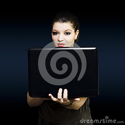 Online female business woman working on laptop