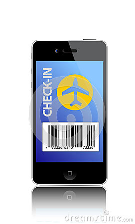 Online flight check-in using a smartphone