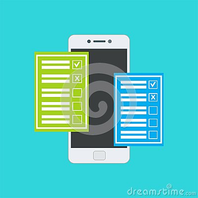 Free Online Form Survey Smartphone Vector Illustration Royalty Free Stock Image - 115488156