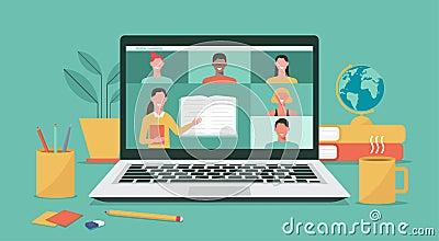 online teacher teaching students on laptop screen, distance learning Vector Illustration