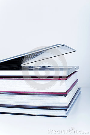 Free Online Library Education Learning Concept With Laptop And Books Stock Photography - 42985772