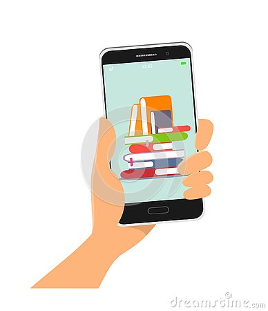Free Online Library . Mobile App. Phone In Hand, Vector Illustration In Flat Style Royalty Free Stock Image - 145250246