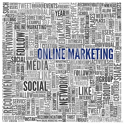Online marketing concept in word tag cloud