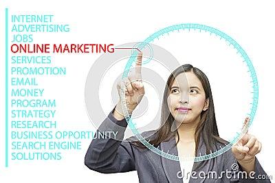 Online Marketing keywords on glass board computer
