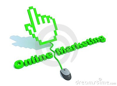 Online marketing text with hand cursor