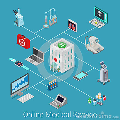 Free Online Medical Service Flat 3d Isometric Isometry Icon Set Royalty Free Stock Photo - 69349775