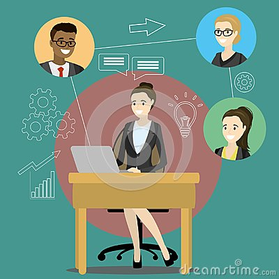Free Online Meeting Or Discussion Using Web Applications Stock Image - 118847691