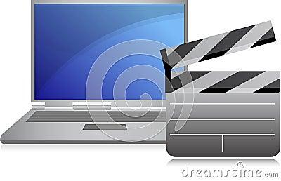 Online movies concept laptop