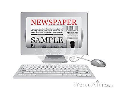 Online newspaper.Computer and news website