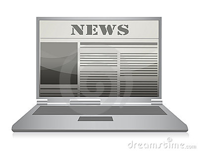 Online newspaper. Laptop and news website.