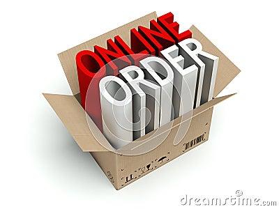 Online order cardboard box  on white
