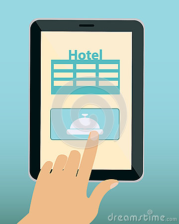 Online reservation hotel stock vector image 53999750 for Tablet hotel booking