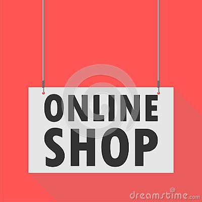 Online shop Hanging Sign Vector Illustration