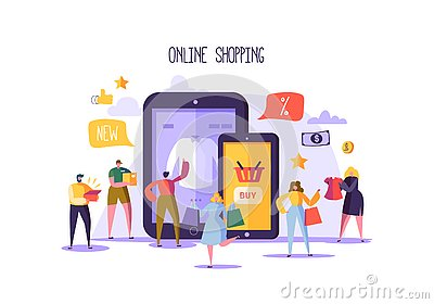 Online Shopping Concept with Characters. Mobile E-commerce Store with Flat People Buying Products with Smartphone Vector Illustration